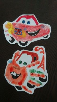 Lightning McQueen and Mater hand/ foot prints Crafts To Make, Crafts For Kids, Arts And Crafts, Projects For Kids, Daycare Crafts, Baby Crafts, Daycare Rooms, Toddler Art, Toddler Crafts