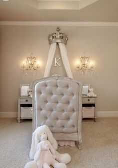 Elegant Ivory Nursery Scalloped hems curved furniture and a