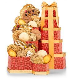 Cookie Gift Tower Chocolate Chip Fudge Ginger Lemon Tea Oatmeal Peanut Butter #GiftTree #FoodGiftBasket #Any