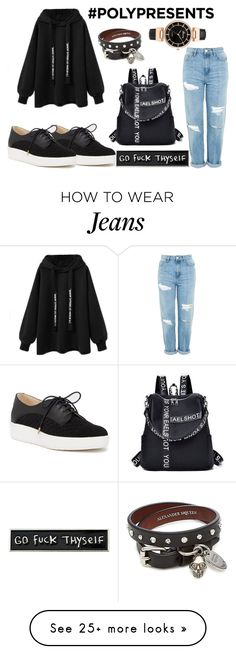 """""""Black world"""" by ajnaa-clxx on Polyvore featuring Topshop, Dr. Scholl's, RIPNDIP and Alexander McQueen"""