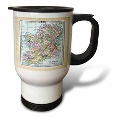 3dRose 1880 Map Of Ireland, Travel Mug, 14oz, Stainless Steel