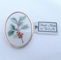 Vintage New Old Stock Porcelain Holly Christmas Brooch by BorrowedTimes on Etsy