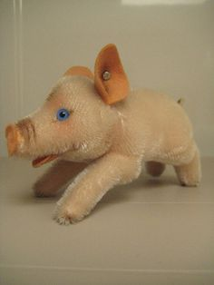 Steiff Vintage Jolanthe Pig Schwein – Pink Mohair, Raised Script Button and Blue…