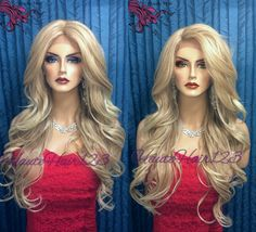 2 Tone Blonde Romantic Curls Human Hair Blend Lace Front Wig