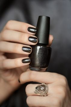 "OPI ""Baby, It's Coal Outside"" / Awe Fashion Success Nails Inspiration"