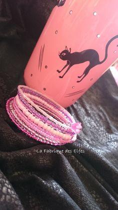 CADEAU ORIGINAL BRACELET MANCHETTE DÉGRADÉ DE ROSES : Bracelet par la-fabrique-des-elfes