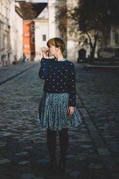 Blue Sweater over Dress - Kittenhood