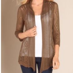 NWT Soft Surroundings Latte Cardigan NWT- Mocha color, lace detail & buttons down center of back. Perfect layer to complete an effortless look. Marked S will fit anyone between sizes 2-6 comfortably. Price firm. Soft Surroundings Sweaters Cardigans