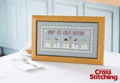 Exclusive cross stitch pattern idea - snowman fun! Designed by The Historical Sampler Company, for issue 208 of The World of Cross Stitching magazine