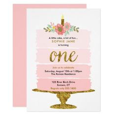 Pink Ombre Cake First Birthday Glitter Invitation. A watercolor ombre cake with gold accents is featured on this trendy girl's first birthday invitation. Use the template form to add your party details. The Customise feature can be used to add text to the Gold First Birthday, Pink Birthday, 1st Birthday Girls, Birthday Ideas, 16th Birthday, Ciara Birthday, Flower Birthday, Elephant Birthday, Dinosaur Birthday