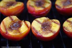 Fruit is best grilled over low heat, so throw it on while you're eating the main course. Try tossing halved peaches with brown sugar and a dash of vanilla and almond extract. Grill peaches skin side down until skin is slightly charred, about 3 minutes. Turn and grill on the other side for 1 or 2 minutes.