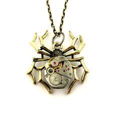 Bronze Spider pendant    Steampunk Black Widow spider by SteamSect, $34.00