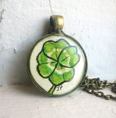 Lucky Four Leaf Clover Green Necklace Original Hand by LaRueStudio