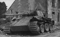 ide view of German Panther tank, Normandy, 1944. This tank was knocked out by tanks of 3rd/4th County of London Yeomanry (Sharpshooters) of 4th Armoured Brigade