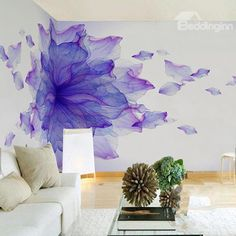 Purple Flower Oil Painting PVC Sturdy Waterproof and Eco-friendly White Wall Mural Lila Blume Ölgemälde PVC Robust Wasserdicht … 3d Wall Murals, Bedroom Murals, Mural Art, Wall Art, Flower Wall Design, Wall Painting Decor, Oil Painting Flowers, Flower Oil, Home And Deco