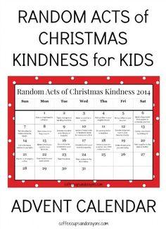 Free Printable Random Acts of Christmas Kindness Advent Calendar for Kids! Spread some kindness this Christmas!