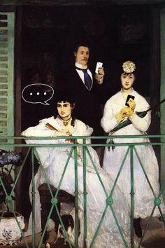 Artista sul-coreano faz piada com a presença da tecnologia na vida moderna Como as pinturas clássicas seriam se vivessem nos dias de hoje?