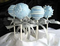 Something blue-Regular cake pops with additional charge for ribbons. Something blue-Regular cake pops with additional charge for ribbons. Baby Shower Cake Pops, Baby Shower Cakes For Boys, Baby Boy Cakes, Baby Shower Parties, Baby Shower Themes, Baby Boy Shower, Baby Shower Decorations, Baptism Cake Pops, Shower Ideas