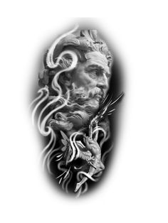 Zeus Tattoo, Statue Tattoo, Jesus Tattoo Sleeve, Sleeve Tattoos, Tattoo Brazo, Full Leg Tattoos, Skull Sketch, Mythology Tattoos, Angel Tattoo Designs