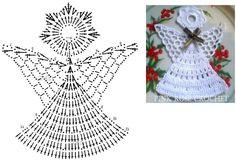 Best 12 Tina's handicraft : Christmas trees – SkillOfKing. Crochet Tree, Crochet Angels, Crochet Christmas Ornaments, Christmas Crochet Patterns, Crochet Snowflakes, Freeform Crochet, Crochet Diagram, Crochet Chart, Thread Crochet