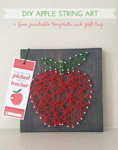 DIY Apple String Art Teacher Gift  tutorial with free printable template and gift tag bookmark