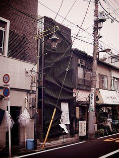 Yufutoku Restaurant Tokyo Tokyo Trip, Tokyo Travel, Arch Model, Small Buildings, Space Age, Facades, Urban Design, Cyberpunk, Places To Travel