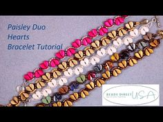 Just in time for Valentine's Day! Make this cute Paisley Duo Hearts Bracelet! This easy tutorial shows you how to use two-hole Paisley Duo beads to create li. Beading Tutorials, Beading Patterns, Heart Bracelet, Bracelets, Beads Direct, Bracelet Tutorial, Bead Weaving, Paisley, Hearts