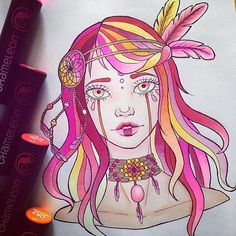 Gorgeous drawing by @_littlepauline_ using their Chameleon Pens! #drawing #illustration #pink #woman #girl #colour #color #colouring #coloring #pen #marker #alcoholmarkers #chameleonpens