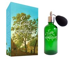 Bottle & package Eau d'Amsterdam, Scent of the Canal Trees. www.eaudamsterdam.com