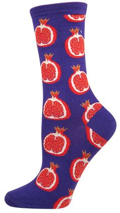 Women's Novelty Crew Socks From Socksmith Designs - Pomegranate Silly Socks, Crazy Socks, Cute Socks, My Socks, Happy Socks, Awesome Socks, Food Socks, Fluffy Socks, Unique Socks