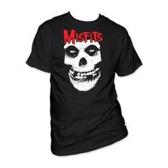 Misfits Red Logo Skull Tee - Rock out in this Misfits Red Logo Skull T-Shirt featuring the band's red logo with a skull.