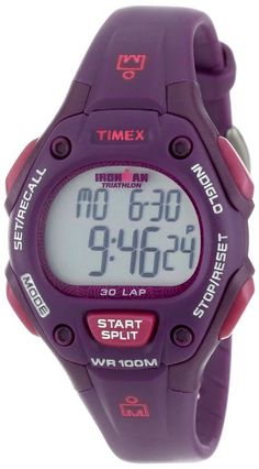 Timex Women's T5K7569J Ironman Traditional 30-Lap Plum Resin Strap Watch