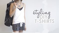 Style these cute t-shirts and go from having a plain shirt to a put together outfit. Plain Shirts, T Shirt Diy, Diy Clothes, Camisole Top, Tank Tops, Pretty, Cute, Outfits, Videos