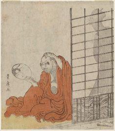 Utagawa Toyohiro Title:Daruma Looking in a Mirror at the Reflection of a Woman behind HIm