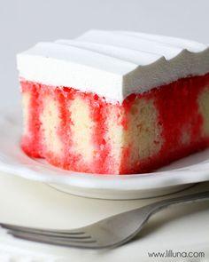 Delicious Gelatin Poke cake recipe - so good! { lilluna.com }