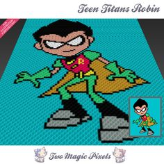 Teen Titans Robin crochet blanket pattern; knitting, cross stitch graph; pdf download; no written counts or row-by-row instructions by TwoMagicPixels, $3.99 USD