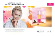 Creative at Lumene - Valo Campaign. Model and artist Jennifer Lipkin. Collaboration, Campaign, Pure Products, Creative, Face, Model, Arctic, Scale Model