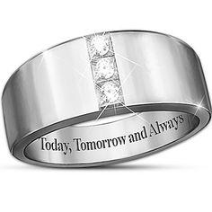 Today, Tomorrow And Always 3-Diamond Men's Ring