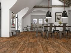 """Shop Interceramic 12-Pack Sunwood Cowboy Brown Ceramic Floor Tile (Common: 5-in  I think this is the same floor we picked out. Varying in 5"""" and 7.5"""". I also think that's our dining table. Go figure"""
