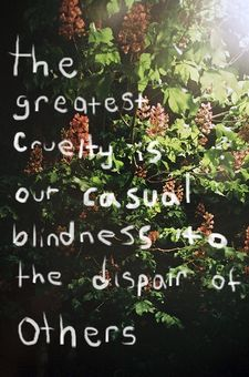 The greatest cruelty is our casual blindness to the dispair of others