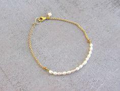 Gold pearl bracelet, simple dainty charm bracelet, wedding jewelry bridesmaid gift