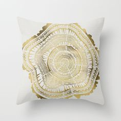 Gold Tree Rings Throw Pillow