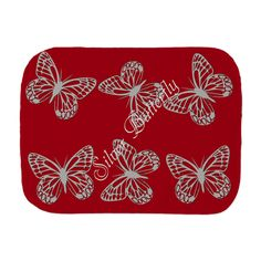 Silver Grey Butterfly Red Burp Cloth, editable text #personalized gift