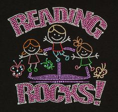 "NEW Rhinestone ""Reading Rocks"" T-Shirt::Stop Falling Productions"