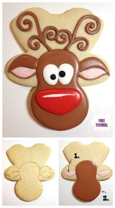 DIY Cute Reindeer Cookies Recipe for Christmas Treat Video DIY Christmas Whimsical Reindeer Cookies Tutorial Christmas Biscuits, Christmas Sugar Cookies, Christmas Cupcakes, Christmas Sweets, Holiday Cookies, Diy Christmas, Christmas Parties, Gingerbread Reindeer, Reindeer Food