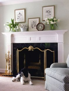 instead of the large mirror, use your bicycle prints and a few other pieces to add interest above your mantel.