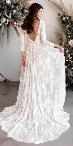 Rustic Wedding Dresses For Inspiration ★ rustic wedding dresses a line open ba. - Rustic Wedding Dresses For Inspiration ★ rustic wedding dresses a line open back with long sleeves country wearyourlovexo Source by bentjebrthel - Country Wedding Dresses, Bohemian Wedding Dresses, Dream Wedding Dresses, Wedding Dress Styles, Bridal Dresses, Maxi Dresses, Fairy Wedding Dress, Wedding Dresses For Busty Brides, Petite Wedding Dresses