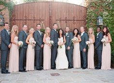 Image result for light pink bridesmaids and dark gray tuxes