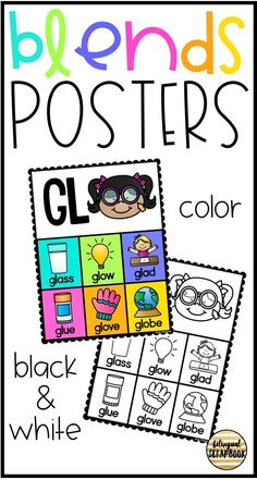 These posters are perfect for teaching blends. They are colorful and will catch your students' attention. I have also included a black and white version that you use as a portable word wall for your students. You can have them in a folder at your writing center.