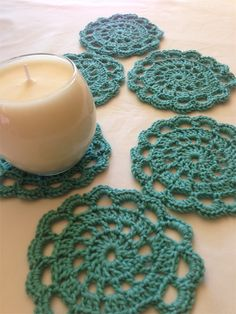 Set of 6 Mermaid Cotton Blend Hand Crochet Flower Coasters Crochet Mermaid, Hand Crochet, Knit Crochet, Large Envelope, Crochet Flowers, Coasters, Crochet Earrings, Knitting, Sewing